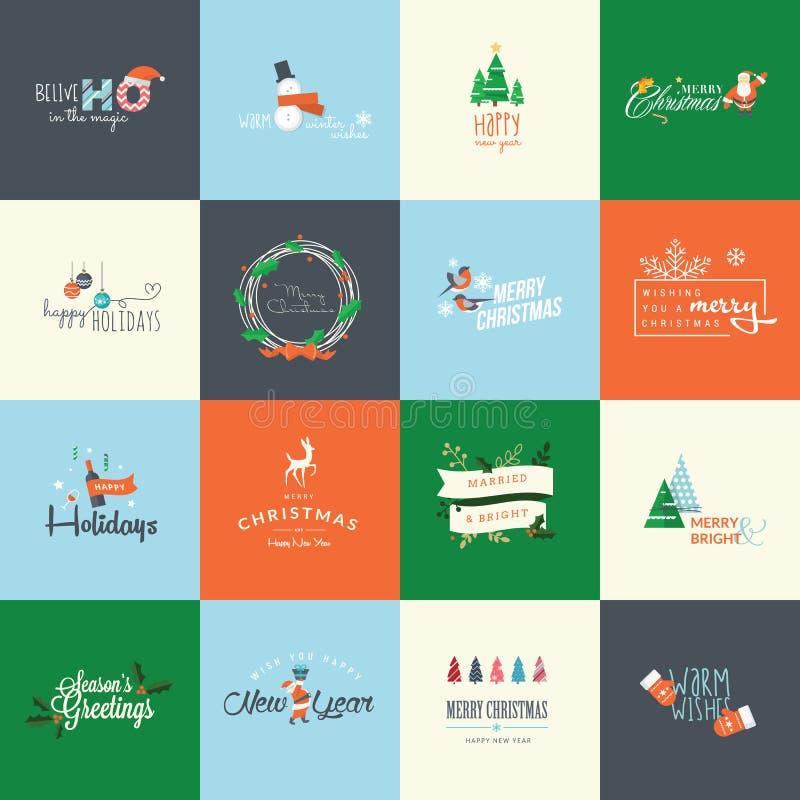 Uppsättning av plana designbeståndsdelar för hälsningkort för jul och för nytt år vektor illustrationer