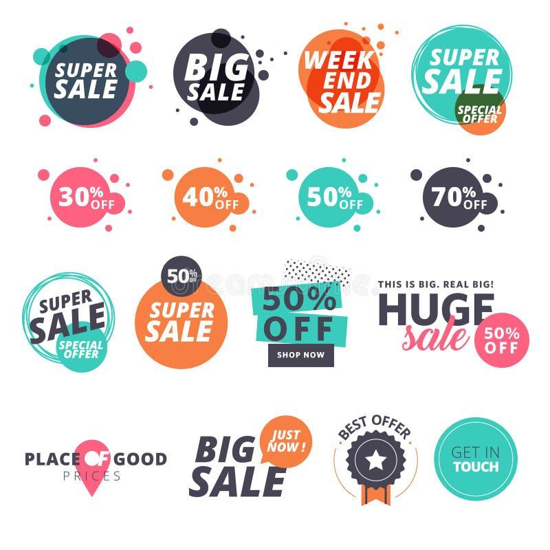 Uppsättning av plana designförsäljningsklistermärkear vektor illustrationer