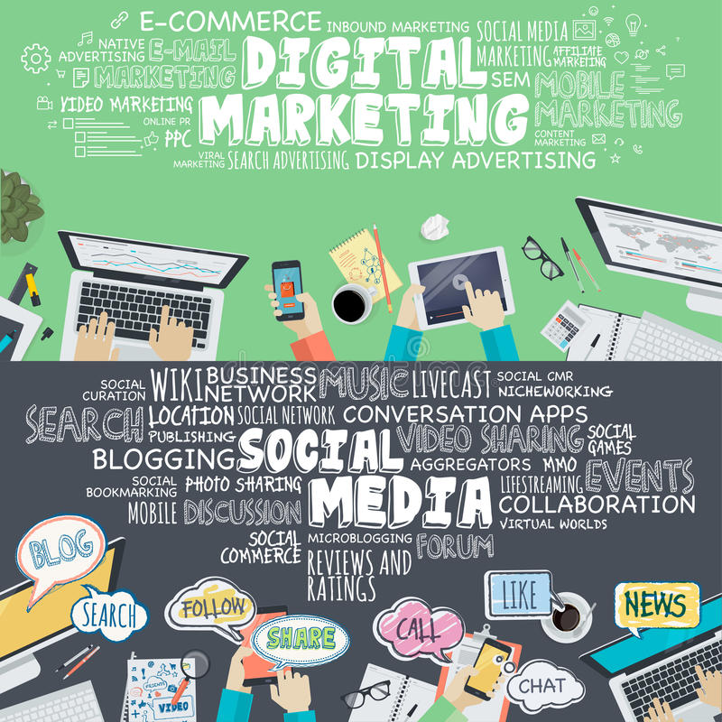 Uppsättning av plana designillustrationbegrepp för digital marknadsföring och socialt massmedia stock illustrationer