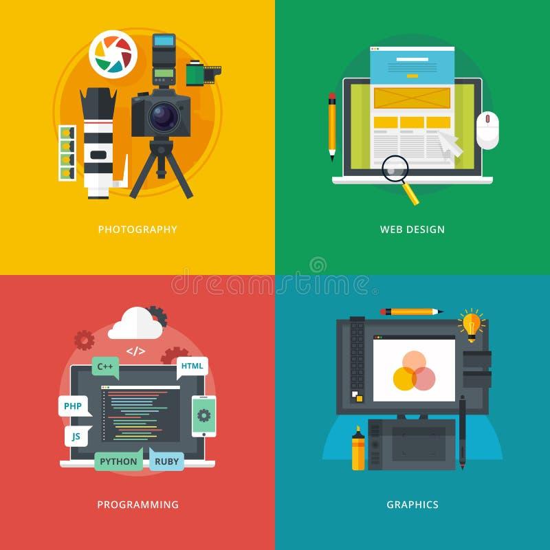 Uppsättning av plana designillustrationbegrepp för fotografi, rengöringsdukdesign som programmerar, diagram Utbildnings- och kuns royaltyfri illustrationer