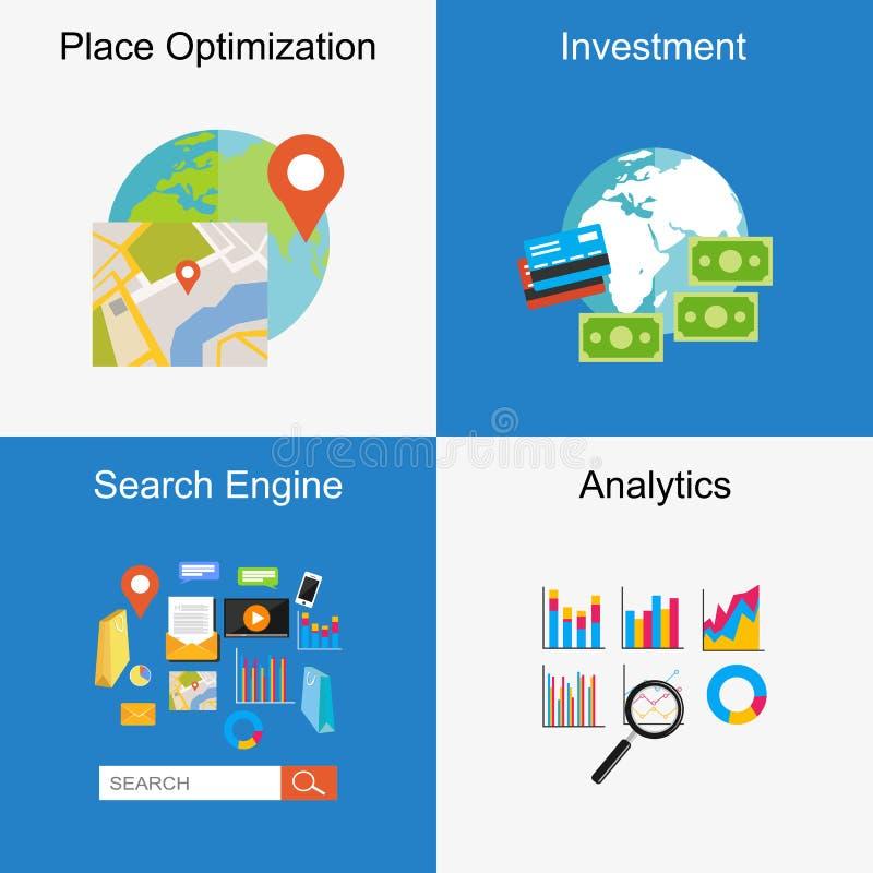Uppsättning av plana designillustrationbegrepp för ställeoptimization, sökandemotor, investering, analytics vektor illustrationer