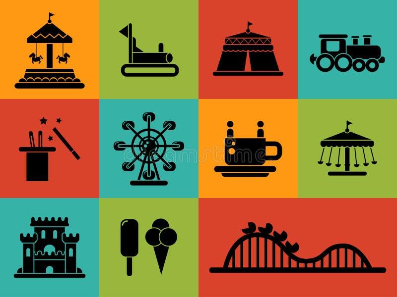 Uppsättning av plana designnöjesfältsymboler royaltyfri illustrationer