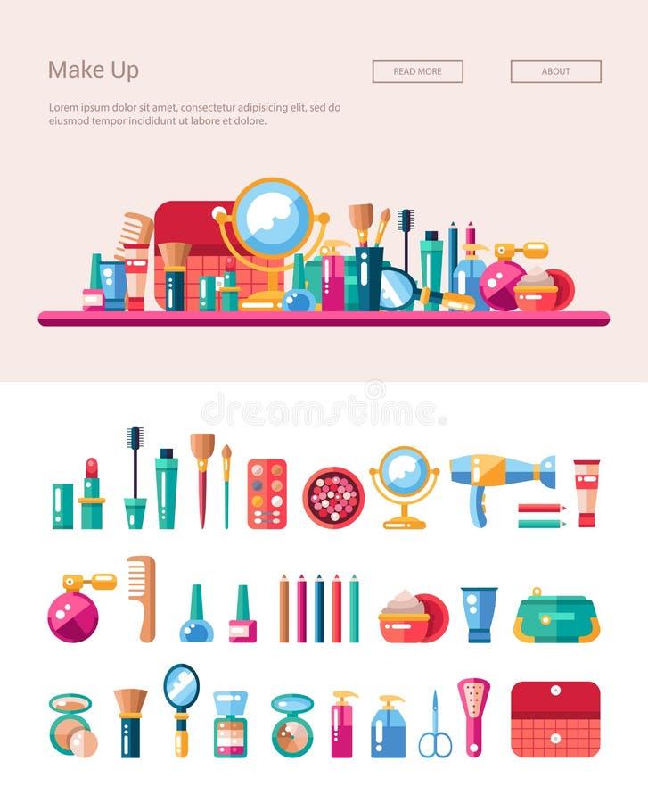 Uppsättning av plana designskönhetsmedel, sminksymboler och stock illustrationer