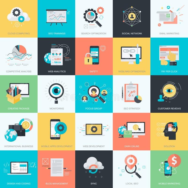Uppsättning av plana designstilsymboler för SEO, socialt nätverk, e-kommers