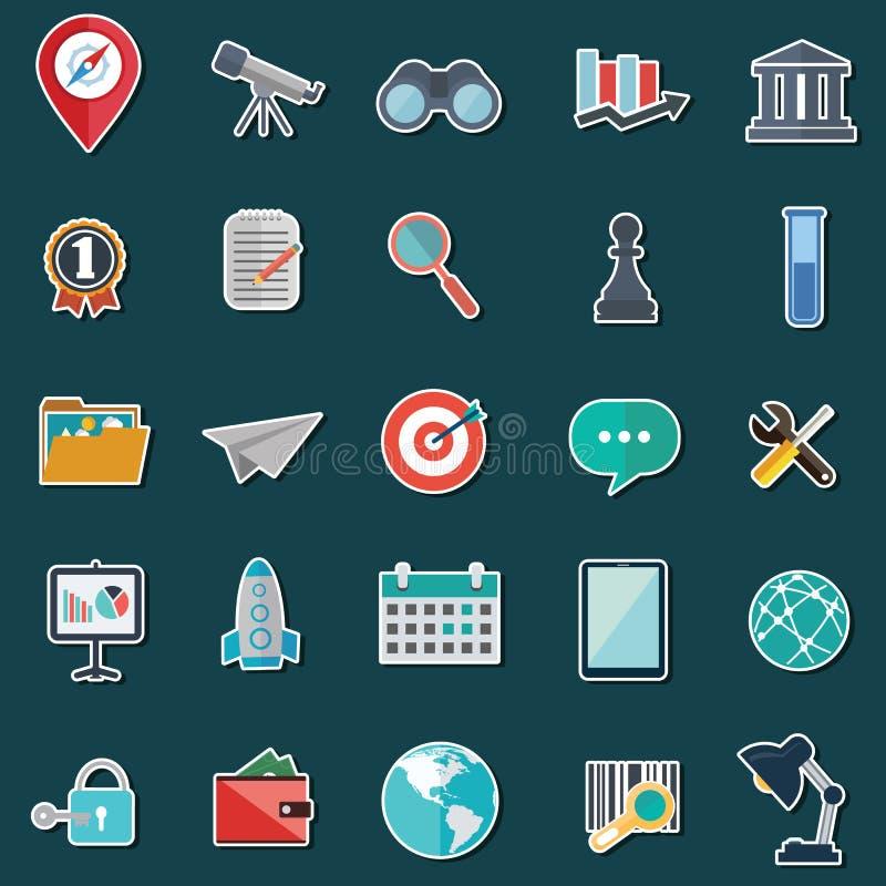 Uppsättning av plana designsymboler för affär, SEO och socialt marknadsföra för massmedia royaltyfri illustrationer