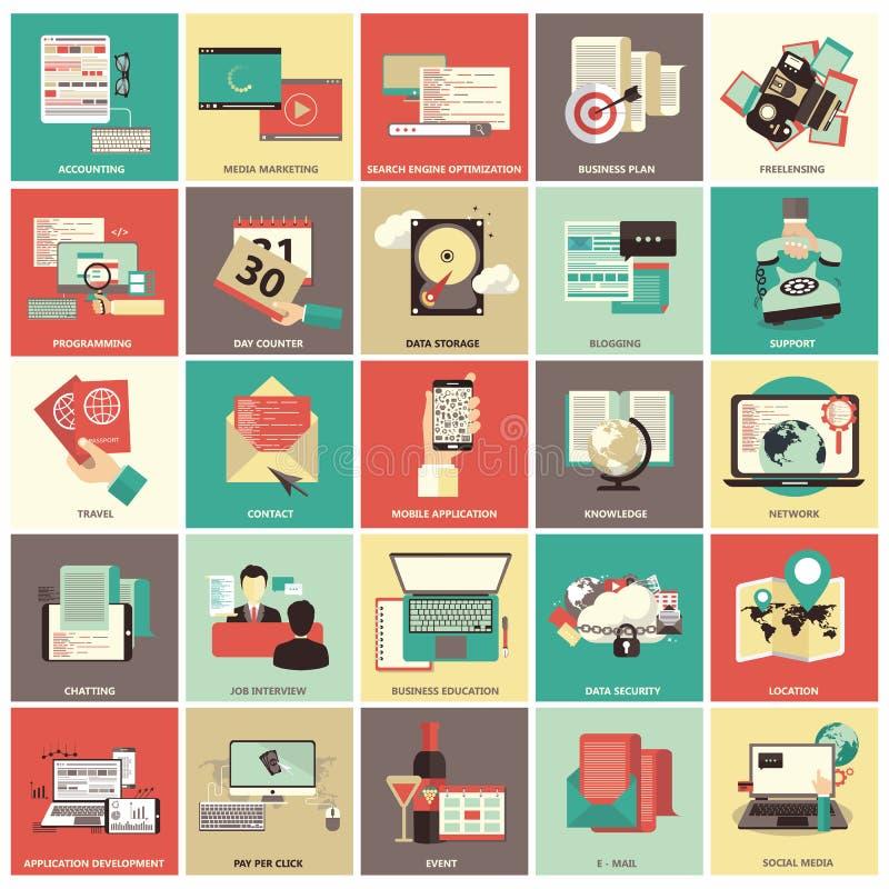 Uppsättning av plana designsymboler för affären, lön per klicken, finans som söker, datasäkerhet, teknologi, på linjen shopping royaltyfri illustrationer