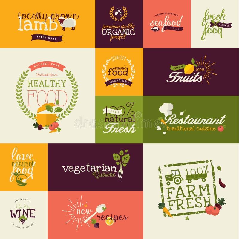 Uppsättning av plana designsymboler för organisk mat och drink royaltyfri illustrationer