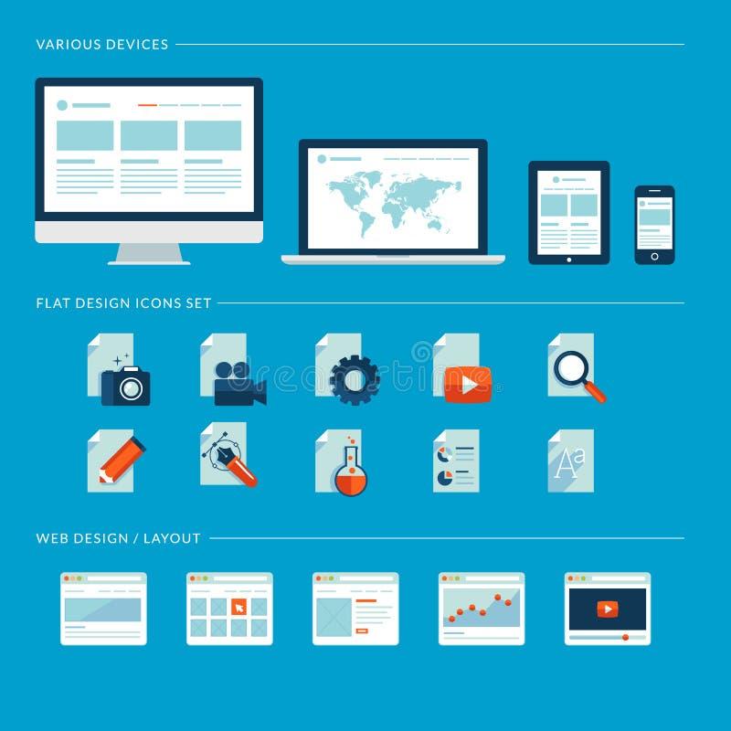 Uppsättning av plana designsymboler för rengöringsduk och mobiltelefon  royaltyfri illustrationer