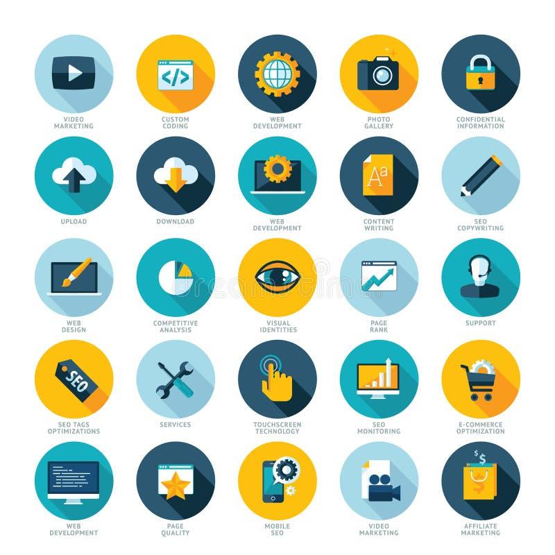Uppsättning av plana designsymboler för utveckling för rengöringsdukdesign, SEO och internetmarknadsföring