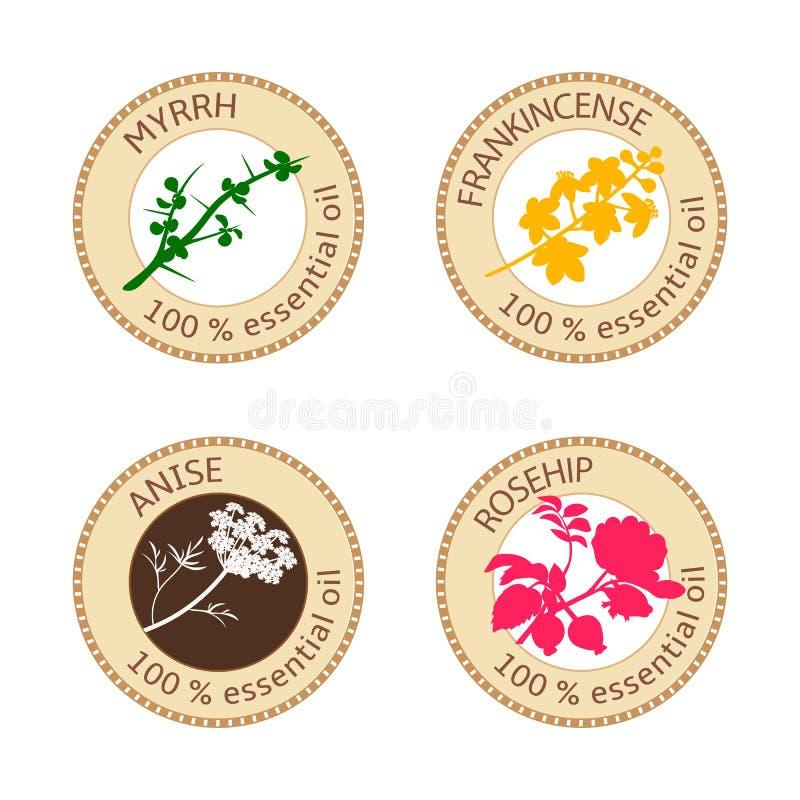 Uppsättning av plana etiketter för nödvändig olja 100 procent Myrra anis, nypon, virak royaltyfri illustrationer