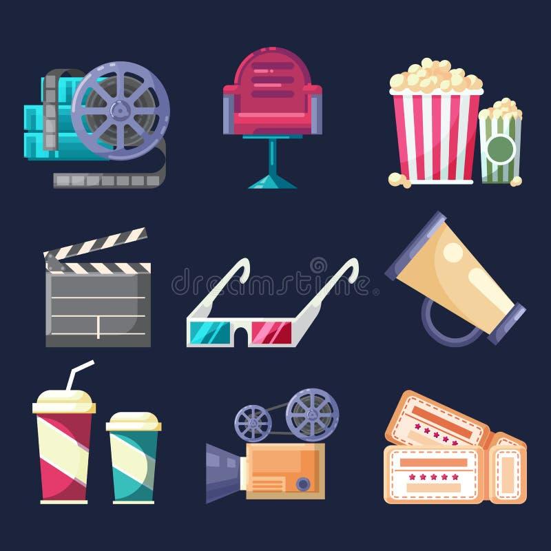Uppsättning av plana färgrika symboler och beståndsdelar med bransch för massmedia för biofilmfilm royaltyfri illustrationer
