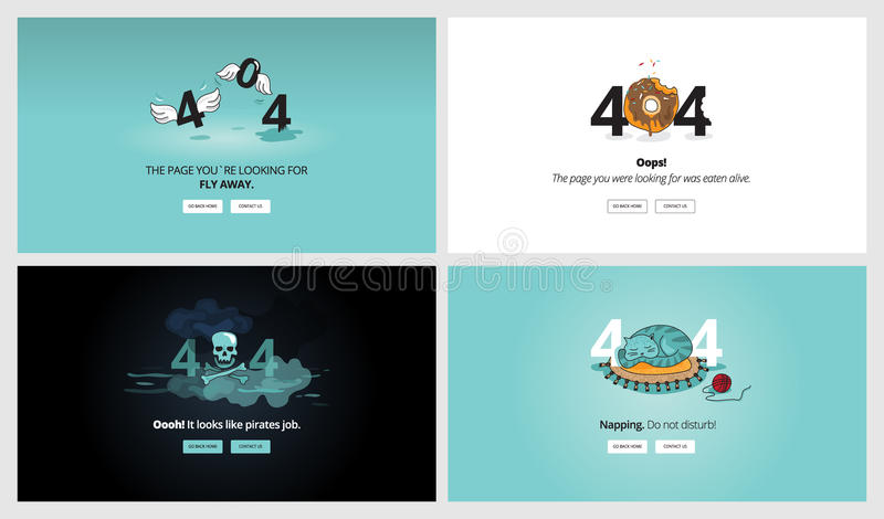 Uppsättning av plana för felsida för design 404 mallar royaltyfri illustrationer