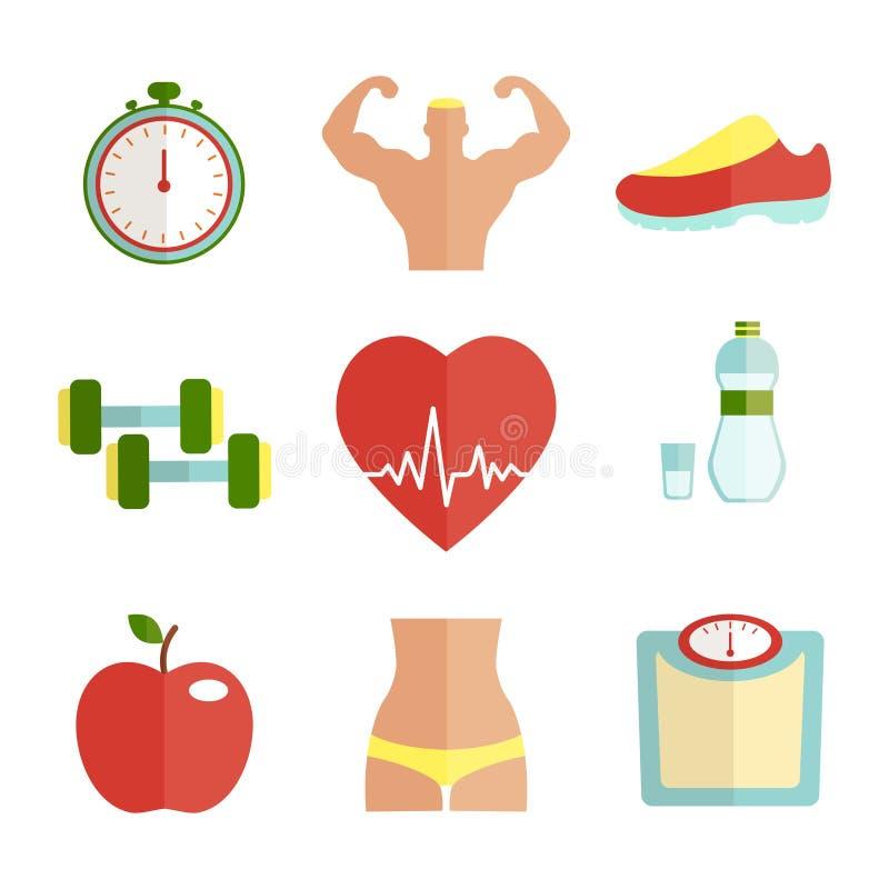 Uppsättning av plana hälso- och sportsymboler vektor illustrationer