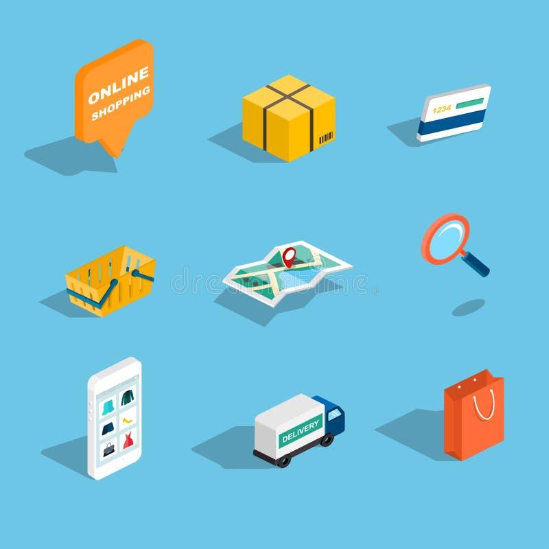 Uppsättning av plana isometriska symboler 3d för försäljning och för shopping Vektorillustr vektor illustrationer