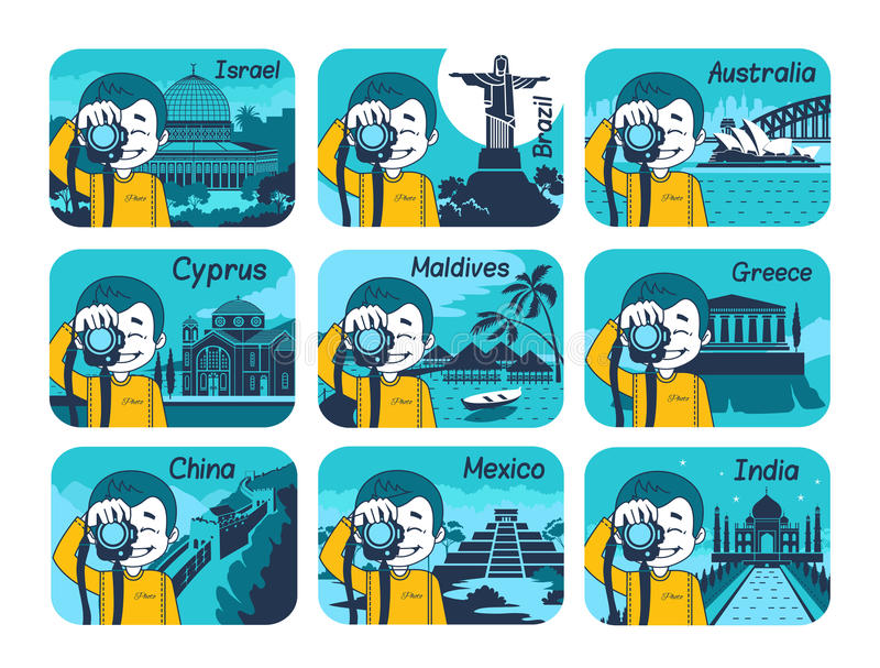 Uppsättning av plana loppsymboler med olika länder stock illustrationer