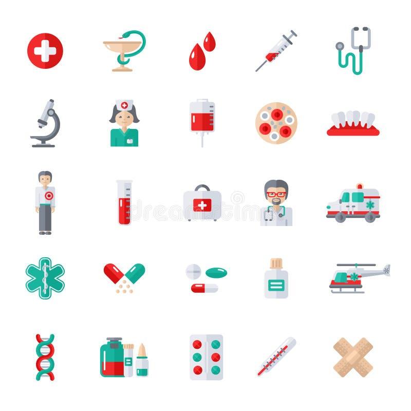 Uppsättning av plana medicinska symboler stock illustrationer