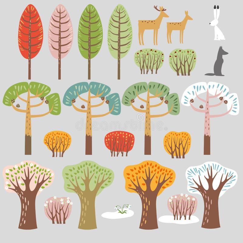 Uppsättning av plana skogbeståndsdelar Träd och djur Höstsommar, vinter, vårträd, buskar stock illustrationer