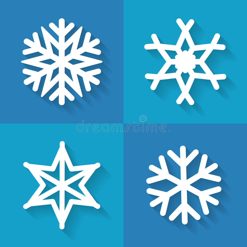 Uppsättning av plana snöflingasymboler, vektorillustration vektor illustrationer