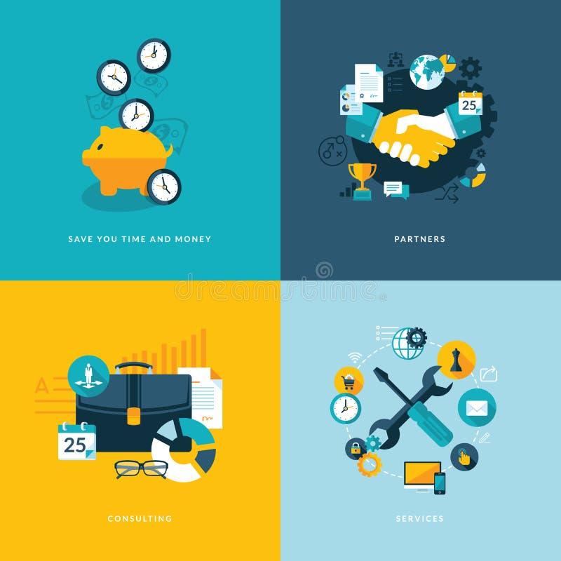Uppsättning av plana symboler för designbegrepp för affär stock illustrationer