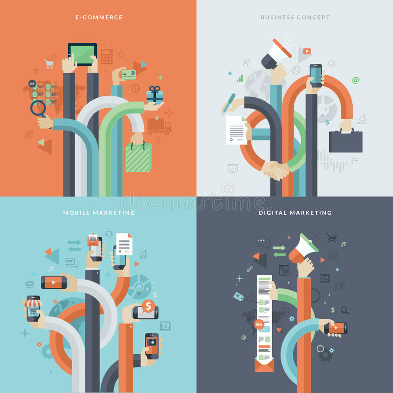 Uppsättning av plana symboler för designbegrepp för affär och marknadsföring stock illustrationer