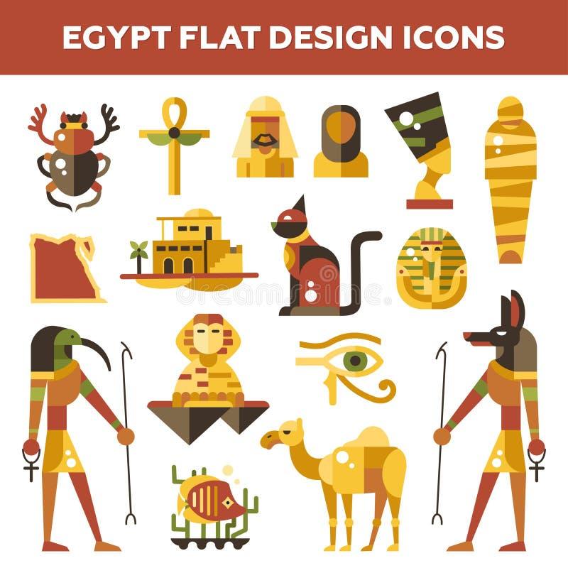 Uppsättning av plana symboler för designEgypten lopp vektor illustrationer