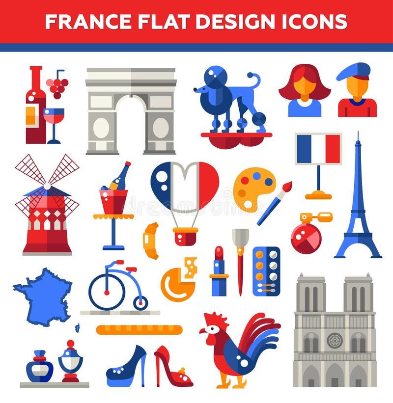 Uppsättning av plana symboler för designFrankrike lopp vektor illustrationer