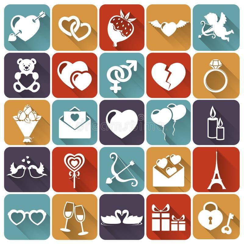 Uppsättning av plana symboler för förälskelse och för romantiker. Vektorillust vektor illustrationer