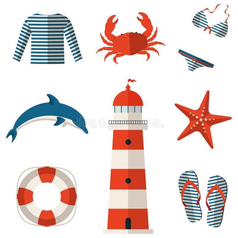 Uppsättning av plana symboler för hav och för strand. Vektorillustration. stock illustrationer