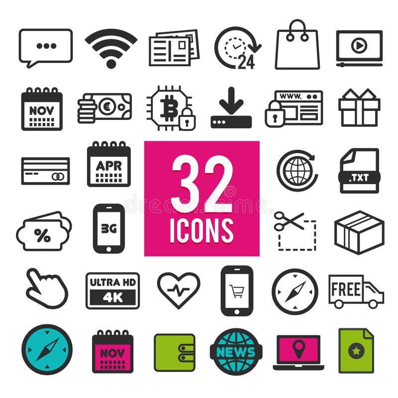 Uppsättning av plana symboler för mobilen app och rengöringsduk på vit bakgrund Logo och pictogram för samling modern infographic stock illustrationer