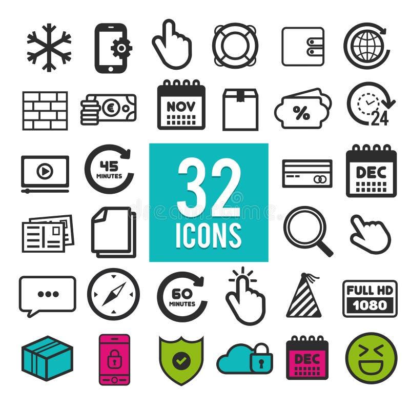 Uppsättning av plana symboler för rengöringsduk och mobilen app på vit bakgrund Logo och pictogram för samling modern infographic vektor illustrationer