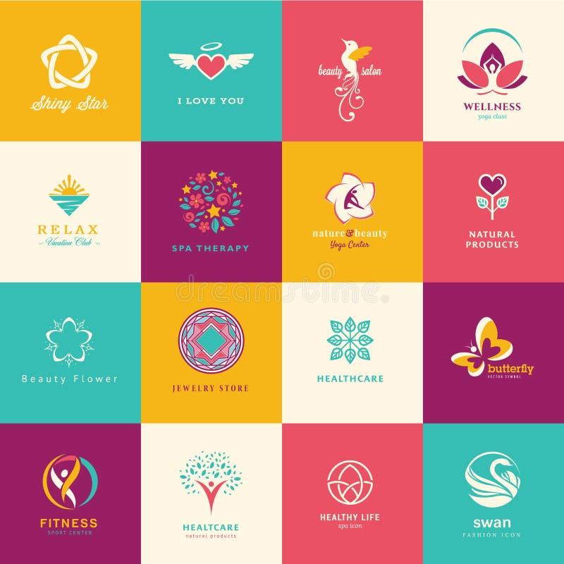 Uppsättning av plana symboler för skönhet, sjukvård, wellness stock illustrationer