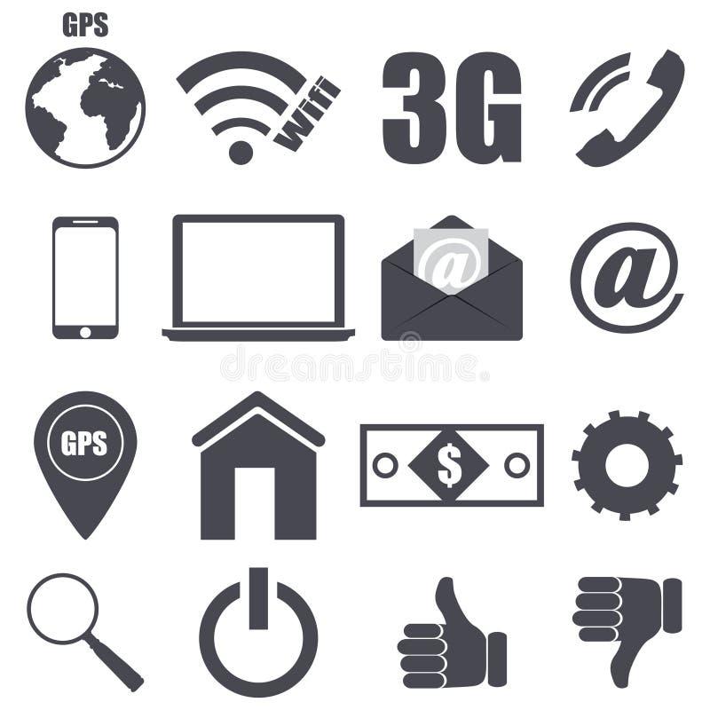 Uppsättning av plana symboler för stycken om teknologi royaltyfri illustrationer