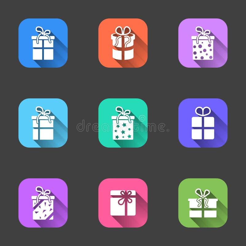 Uppsättning av plana symboler av gåvaaskar med skuggor i mång--färgade ramar Vektor på en grå bakgrund royaltyfri illustrationer
