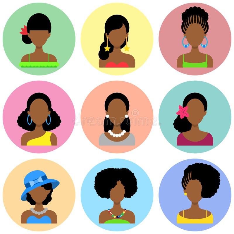 Uppsättning av plana symboler med afrikanska kvinnor vektor illustrationer