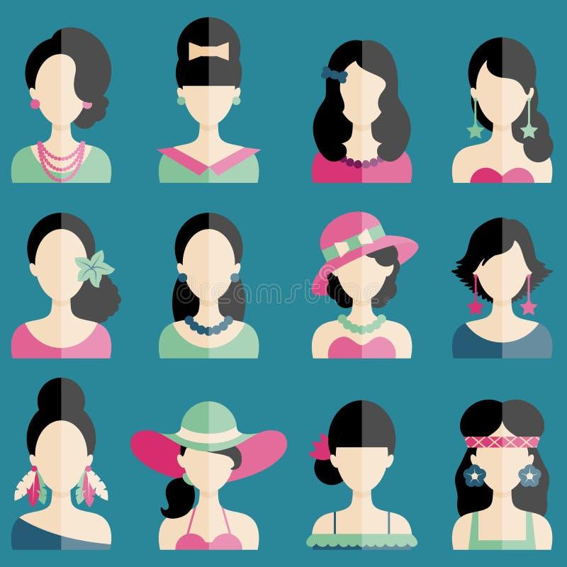 Uppsättning av plana symboler med kvinnatecken royaltyfri illustrationer