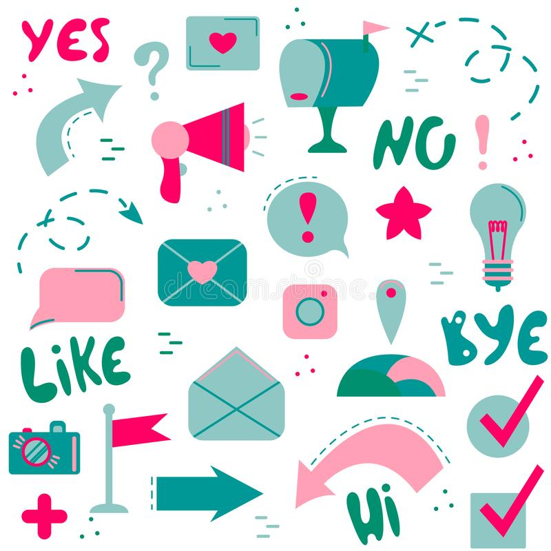 Uppsättning av plana symboler Sociala nätverk, internet, moderna teknologier Knappar och pekare stock illustrationer