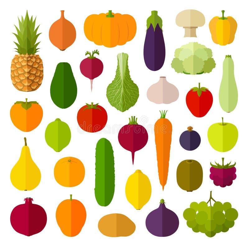 Uppsättning av plana symboler Vektorgrönsaker och frukter stock illustrationer
