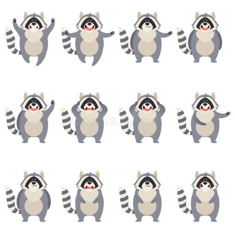 Uppsättning av plana tvättbjörnsymboler royaltyfri illustrationer