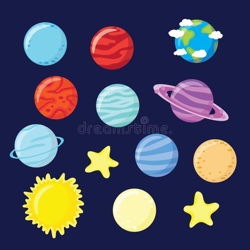 Uppsättning av planeter, stjärnor, solen och månen vektor illustrationer