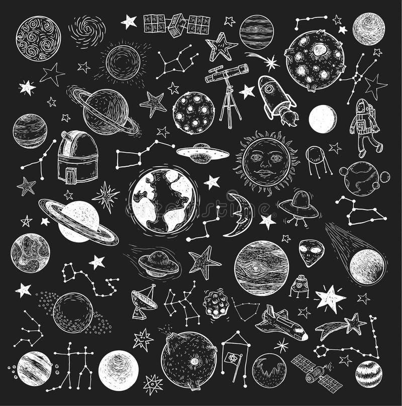 Uppsättning av planeter symbol, hand dragen vektorillustration royaltyfri illustrationer