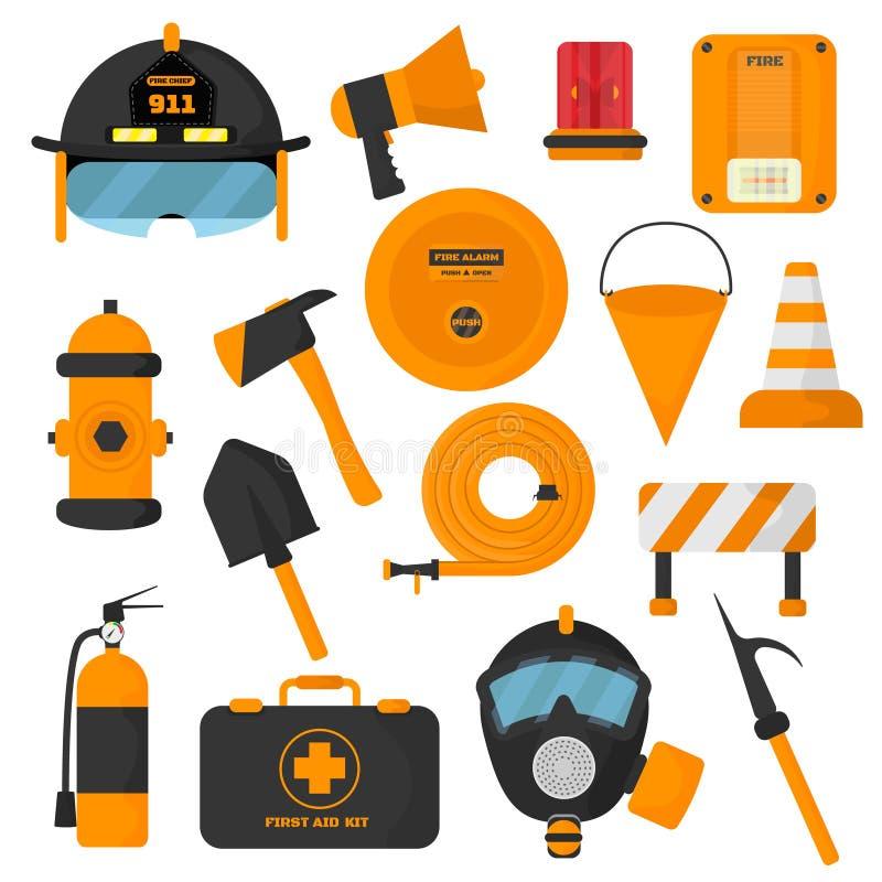 Uppsättning av planlagda brandmanbeståndsdelar Nöd- symboler för färgad brandstation och utrustning för vattensäkerhetsfara Brand royaltyfri illustrationer