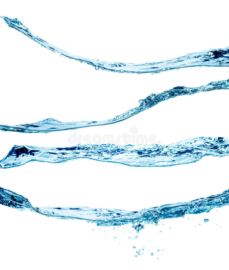 Uppsättning av plaskande vattenvågor som isoleras på den vita bakgrunden arkivfoton
