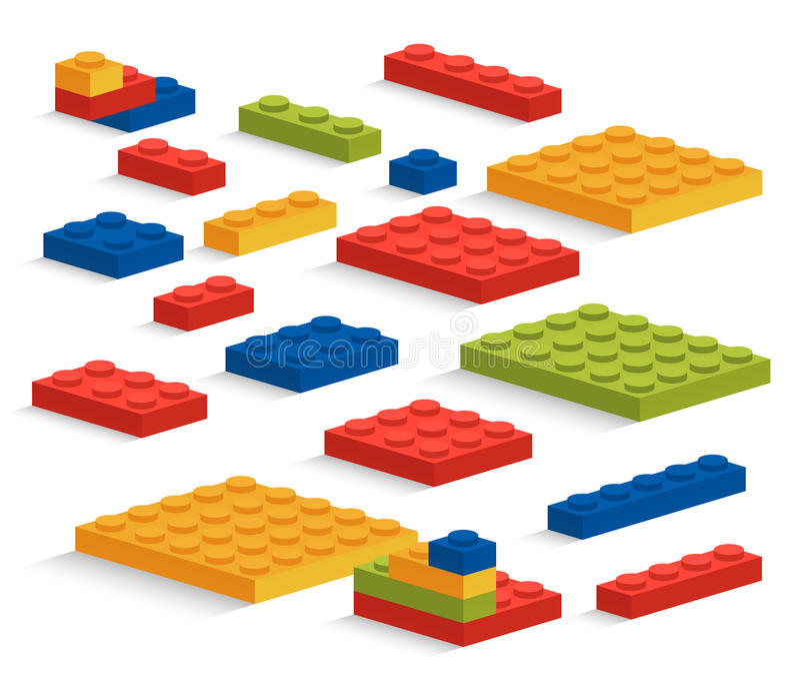 Uppsättning av plast- den Lego stycken eller konstruktörn stock illustrationer