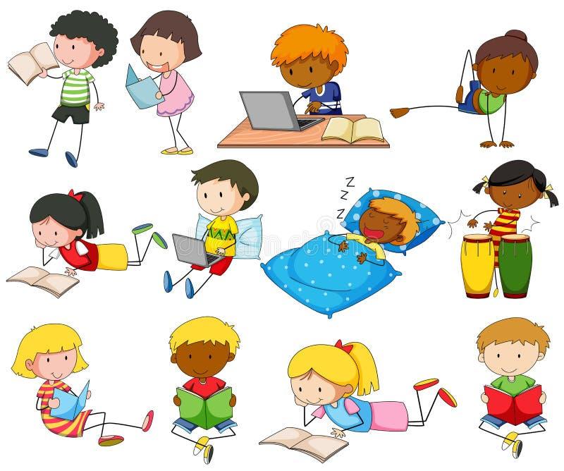Uppsättning av pojkar och flickor som gör olika aktiviteter royaltyfri illustrationer