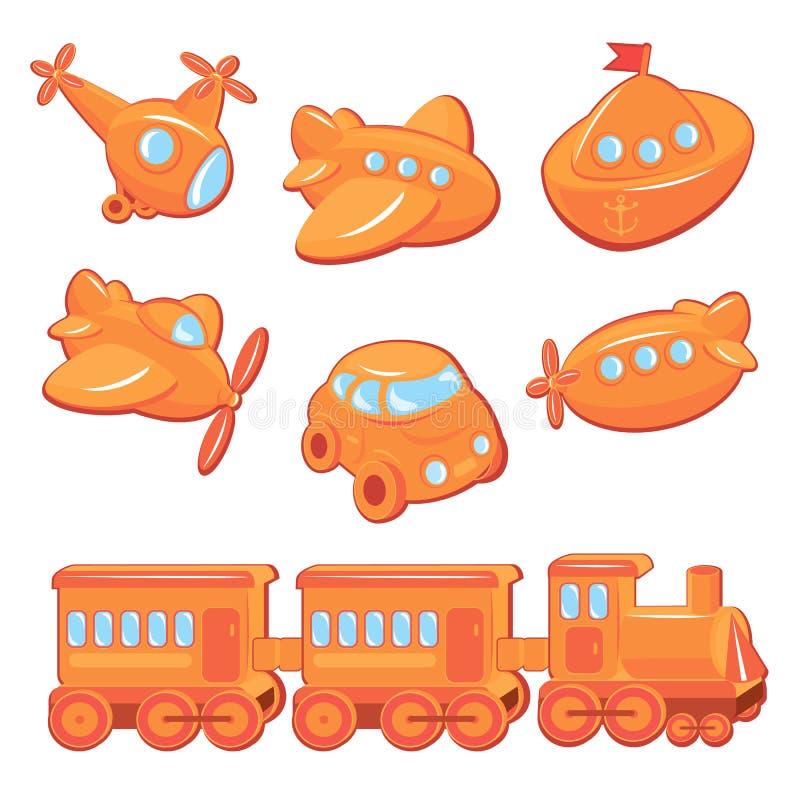 Uppsättning av pojkeleksaker - transporttecknade filmer royaltyfri illustrationer