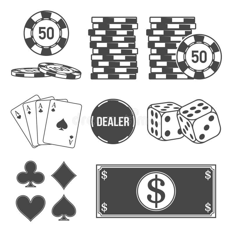 Uppsättning av poker- och kasinobeståndsdelar vektor illustrationer
