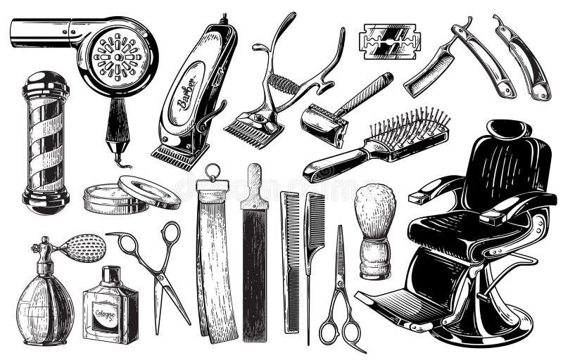 Uppsättning av polen för borste för blad för sax för logoer för emblem för etiketter för tappningfrisersalongemblem bakgrund isol stock illustrationer