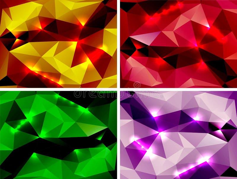 Uppsättning av polygonal abstrakta färgrika bakgrunder vektor illustrationer