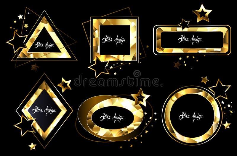 Uppsättning av polygonal guld- baner vektor illustrationer