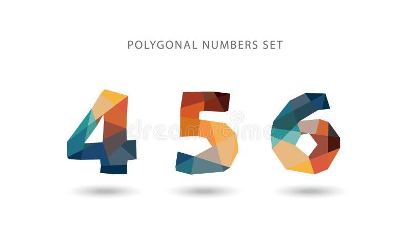 Uppsättning av polygonal nummer vektor illustrationer